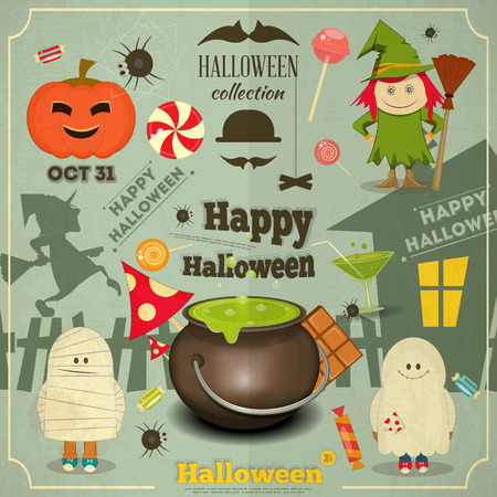 Happy Halloween Retro Card. Vector Illustration. Vector