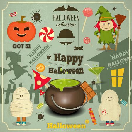 happy halloween: Happy Halloween Retro Card. Vector Illustration. Illustration