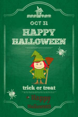 green chalkboard: Halloween Card with Witch on Green Chalkboard.