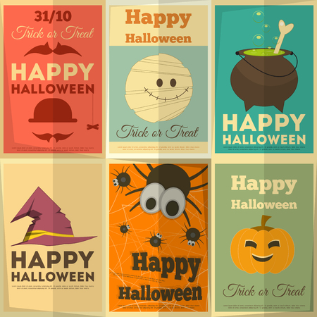Happy Halloween Retro Cards Set. Vector