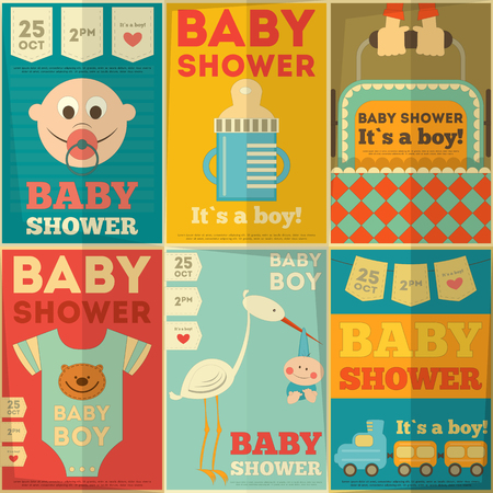 Baby Shower Posters Set. Its a Boy! Vector Illustration.  Vector
