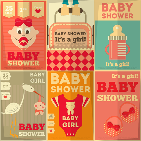 Baby Shower Posters Set. Its a Girl! Vector Illustration.  Vector