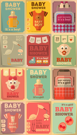 lovely girl: Baby Shower Posters Set. �Es un muchacho! �Es un chica! Ilustraci�n del vector.