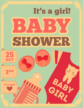 Baby Shower Retro Poster. Its a Girl! Vector Illustration.  Vector