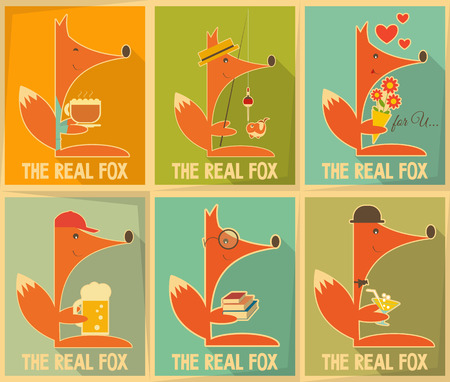 Fox. Set of Retro Posters. Vector