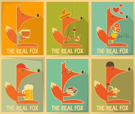 Fox. Set of Retro Posters. Vector