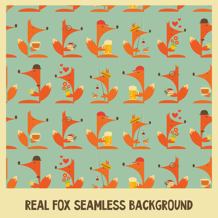 Fox Seamless Background. Vector Illustration. Vector