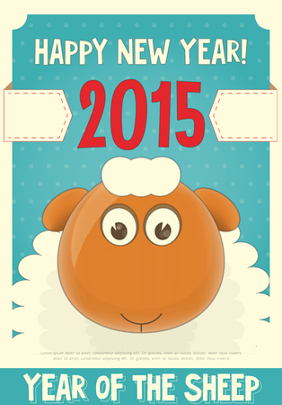 New Year Card with Cute Cartoon Sheep. Symbol of 2015 year. Year of the Sheep. Vector Illustration. Vector