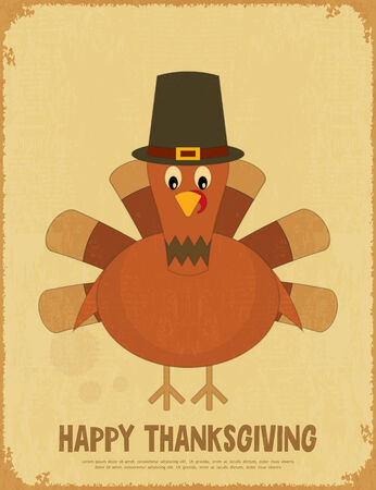 Thanksgiving Day. Retro Poster with Cartoon Turkey. Vector Illustration. Vector