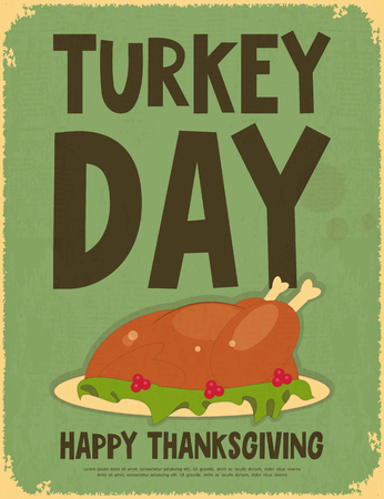 Thanksgiving Day. Retro Poster with Roasted Turkey. Vector Illustration.