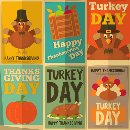 thanksgiving dinner: Thanksgiving Day. Retro Posters Collection with Cartoon Turkey. Vector Illustration.