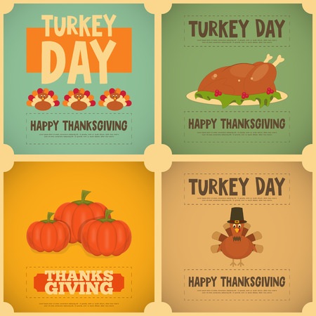 Thanksgiving Day. Vintage Posters Set with Cartoon Turkey. Vector Illustration.