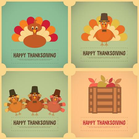 Thanksgiving Day. Retro Posters Set with Cartoon Turkey. Vector Illustration.  イラスト・ベクター素材