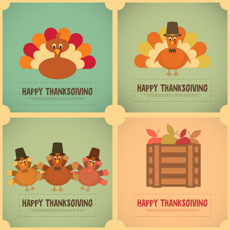 Thanksgiving Day. Retro Posters Set with Cartoon Turkey. Vector Illustration. Çizim