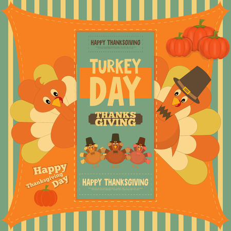 Thanksgiving Day Card. Poster with Cartoon Turkey. Vector Illustration.