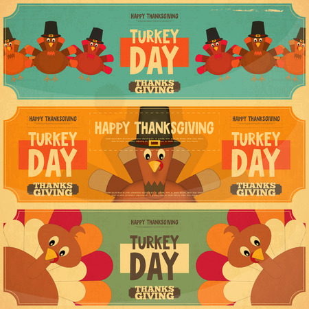 Kaart van de Thanksgiving Day. Retro Posters Set met Cartoon Turkije. Vector Illustratie. Stock Illustratie