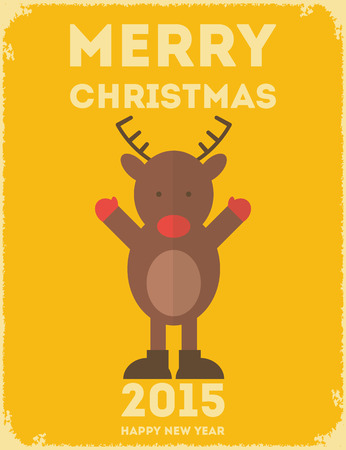 Merry Christmas Greeting Card with Flat Christmas Reindeer in Retro Style.  Vector