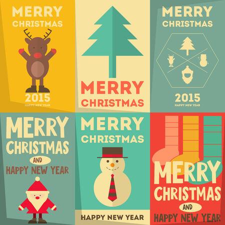 nariz roja: Navidad Pósteres Set - Feliz Navidad Tarjetas de felicitación en estilo retro. Vectores