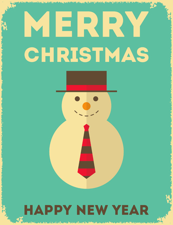 Merry Christmas Greeting Card with Flat Snowman in Retro Style.  Vector