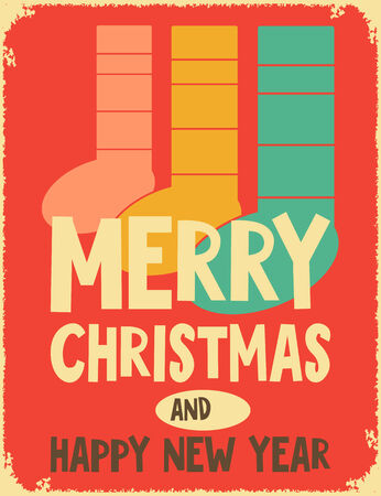 mantel: Greeting Card - Merry Christmas and Happy New Year in Retro Design.