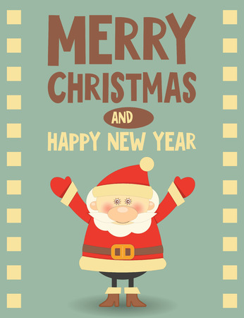 Merry Christmas Greeting Card with Santa Claus in Retro Old Style. Vector Illustration. Vector