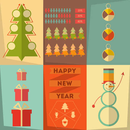 Merry Christmas Posters Set in Infographic Style, Flat Design. Vector Illustration. Vector