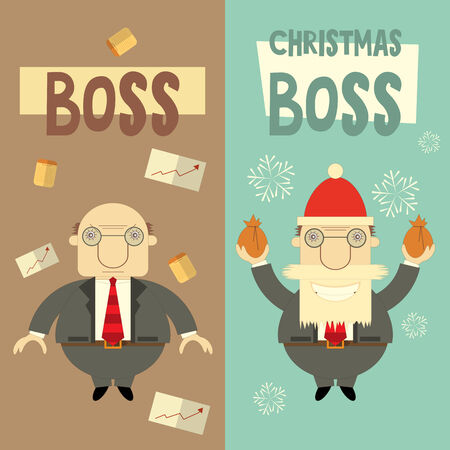 Merry Christmas Greeting Card with Cartoon Santa Claus Boss and Angry Boss. Vector Illustration. Vector