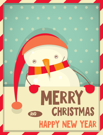 Merry Christmas Greeting Card with Cartoon Cute Snowman in Retro Style. Vector Illustration. Vector