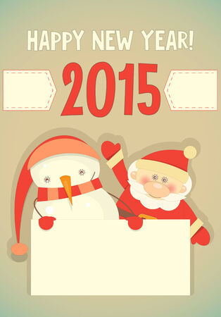 Retro Merry Christmas and New Years Card with Santa Claus and Snowman with Place for Text. Vertical format. Vector illustration. Vector