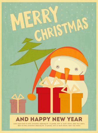 Merry Christmas Greeting Card with Cartoon Cute Snowman and Gift Box in Retro Style. Vector Illustration. Vector