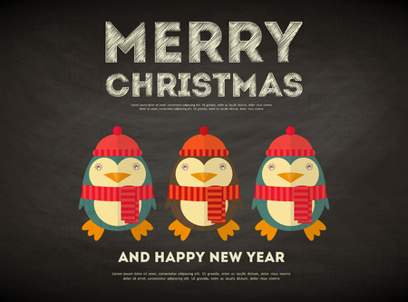 Merry Christmas Greeting Card with Cartoon Cute Penguin in Vintage Style on Chalkboard. Vector Illustration. Vector