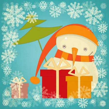 greeting card background: Merry Christmas Greeting Card with Cartoon Cute Snowman, Snow Frame and Gift Box in Retro Style. Vector Illustration.