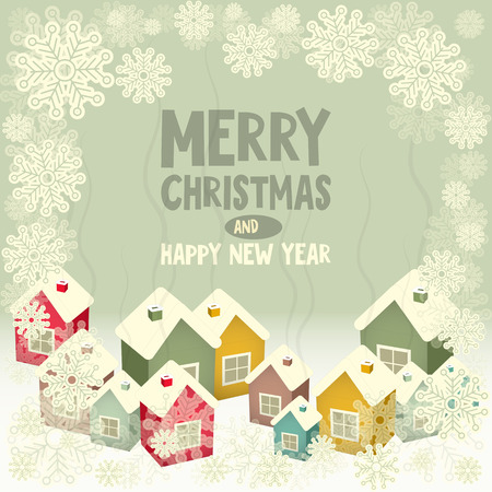Christmas Greeting Card - Winter Little Colored Town with Snow Frame. Vector Illustration. Vector