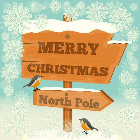 north pole sign: Christmas Greeting Card - Signpost North Pole. Vector Illustration.
