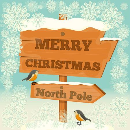north pole: Christmas Greeting Card - Signpost North Pole. Vector Illustration.
