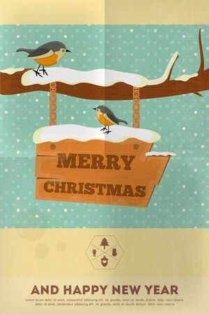 Christmas Greeting Card - Wooden Board and Bird. Vector Illustration. Vector