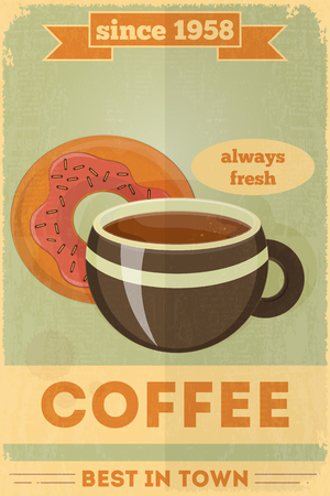Food Poster. Advertise with Coffee, Donuts. Vector Illustration.