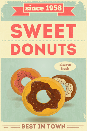 advertise: Food Poster. Advertise with Donuts. Vector Illustration.