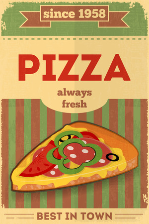Food Poster. Advertise with Pizza. Vector Illustration.  イラスト・ベクター素材