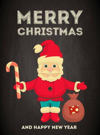 bolsa de regalo: Tarjeta de felicitaci�n de la Feliz Navidad con la historieta linda de Santa Claus y bolsa de regalo en estilo vintage en la pizarra. Ilustraci�n del vector.