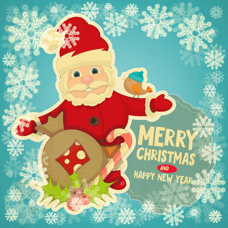 Merry Christmas Greeting Card with Santa Claus, Mistletoe and Gift Bag in Retro Style Vector
