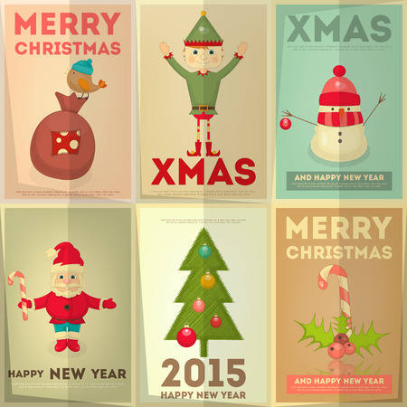 Merry Christmas Greeting Poster Set with Cartoon Cute Santa Claus, Christmas Elf and Snowman. Vector Illustration. Vector