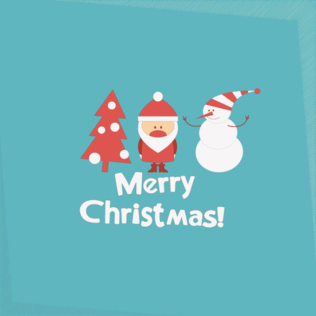 Merry Christmas and New Years Card with Santa Claus, Christmas Tree and Snowman. Vector illustration.