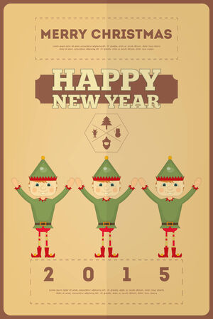 elf's: Retro Merry Christmas and New Years Card  Christmas Elfs. Vector illustration. Illustration