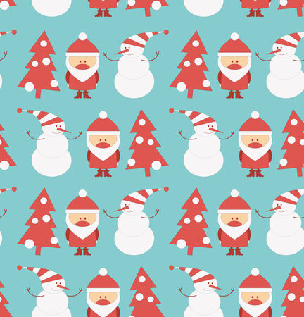 snowman vector: Christmas Seamless Background. Santa Claus, Snowman and Christmas Tree. Vector Illustration.