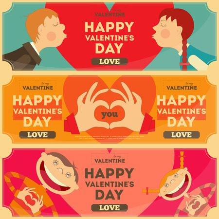 Valentines Day Posters Set in Cartoon Style. Horizontal format. Vector Illustration. Vector