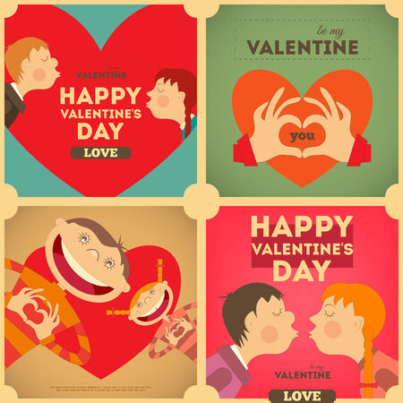 Valentines Day Posters Set in Cartoon Style. Square format. Vector Illustration. Vector