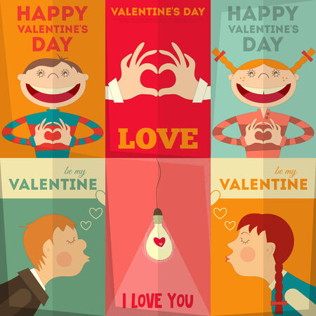 Valentines Day Posters Set in Cartoon Style. Vector Illustration. Vector