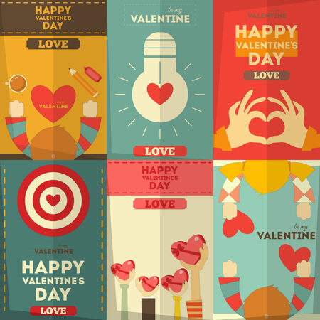 Valentines Day Posters Collection in Cartoon Style. Vector Illustration. Vector