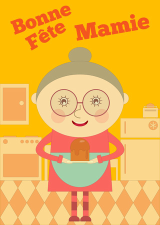 family fun day: Grandmother Day France. Greeting Card with Grandma in Cartoon Style. Fête des Grands-méres. Vector Illustration.